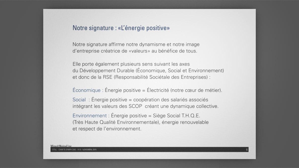 Extrait de la charte graphique CITEL : présentation de la nouvelle signature