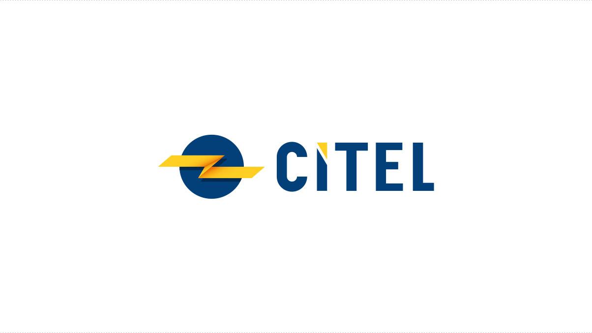Le nouveu logo Citel : un rond bleu plein sous un éclair jaune et le nomp écrit en lettre capitales