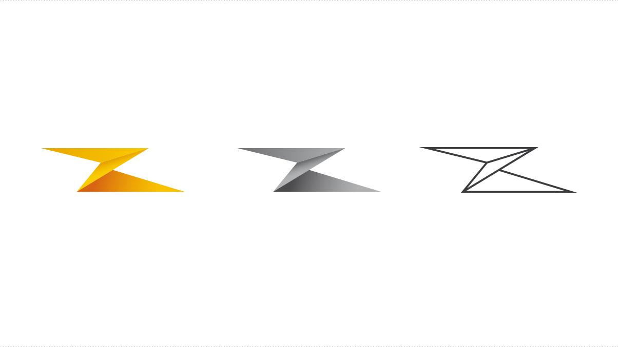 Propositions d'un nouveau logotype pour CITEL : un éclair décliné sous trois aspects : couleur, niveaux de gris et filaire.