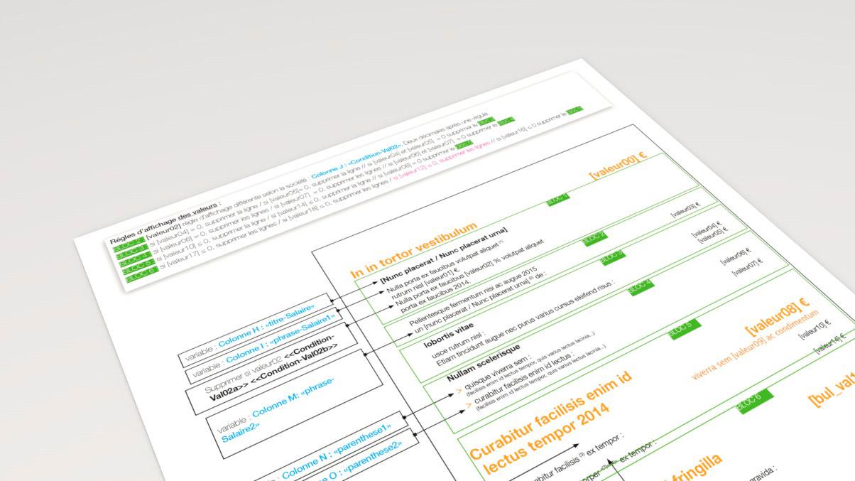 Exemple de spécifiacations techniques pour l'intégration des données variables dans la maquette graphique du BSI Orange